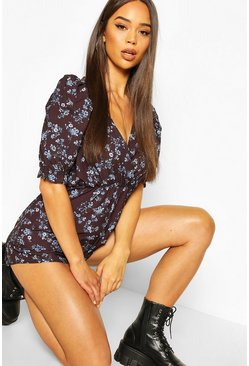 Black Ditsy Print Puff Sleeve Playsuit