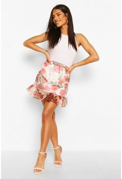 White Floral Organza Mini Skirt