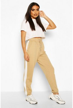 Sand beige Lace Up Front Loopback Jogger