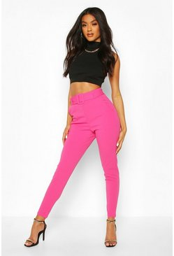 Hot pink pink Scuba Crepe Belted Slim Fit Pants