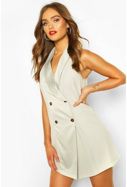 Sage green Occasion Tailored Tux Dress