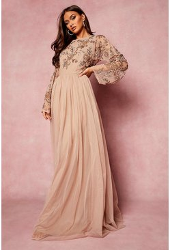 Blush pink Bridesmaid Hand Embellished Long Sleeve Maxi Dress