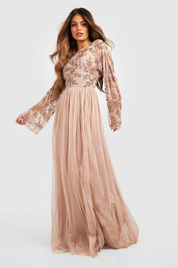 Blush pink Bridesmaid Hand Embellished Long Sleeve Maxi Dress