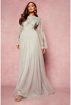 Grey Bridesmaid Hand Embellished Long Sleeve Maxi Dress