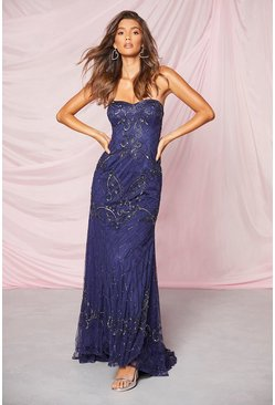 Navy Bridesmaid Bandeau Hand Embellished Maxi Dress