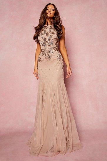 Blush pink Bridesmaid Hand Embellished Halter Maxi Dress