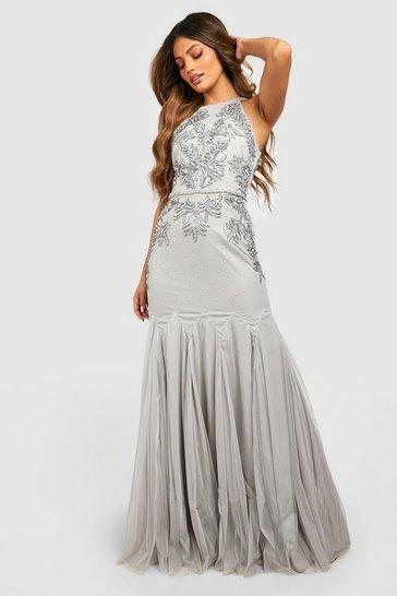 Grey Bridesmaid Hand Embellished Halter Maxi Dress