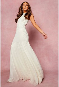 Ivory white Bridesmaid Hand Embellished Halter Maxi Dress
