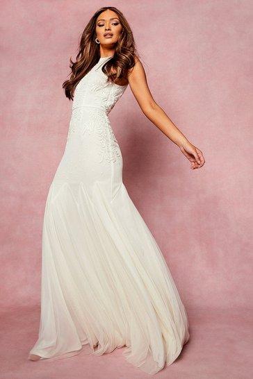 Ivory white Bridesmaid Hand Embellished Halter Maxi Dress