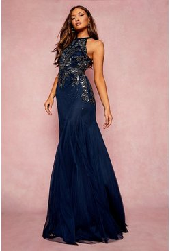 Navy Bridesmaid Hand Embellished Halter Maxi Dress