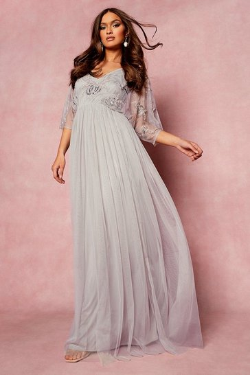 Grey Bridesmaid Hand Embellished Kimono Mesh Maxi