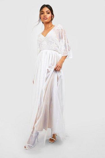 White Bridesmaid Hand Embellished Kimono Mesh Maxi