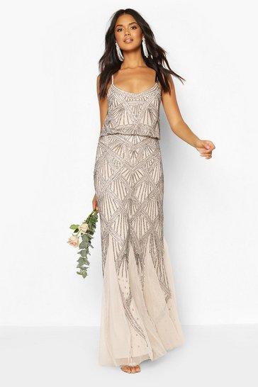 Mink beige Bridesmaid Strappy Hand Embellished Godet Maxi