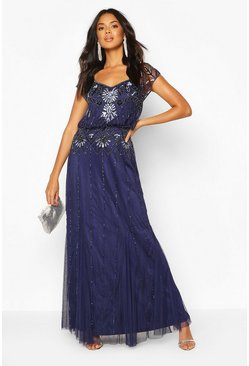 Bridesmaid Handverziertes Maxikleid, Marineblau
