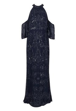 Navy Bridemaid Hand Embellished Cold Shoulder Maxi