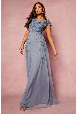 Dusty blue blue Bridesmaid Hand Embellished Bow Detail Maxi
