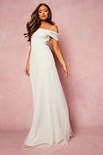 Ivory white Bridesmaid Hand Embellished Bow Detail Maxi