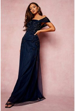 Navy Bridesmaid Hand Embellished Bow Detail Maxi