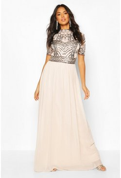 Mink beige Bridesmaid High Neck Hand Embellished Maxi Dress