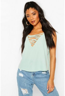 Sage green Lace Up Plunge Woven Cami