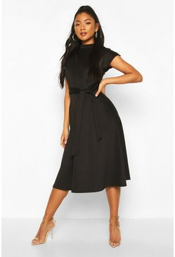 Black Funnel Neck Belted Midi Skater Dress