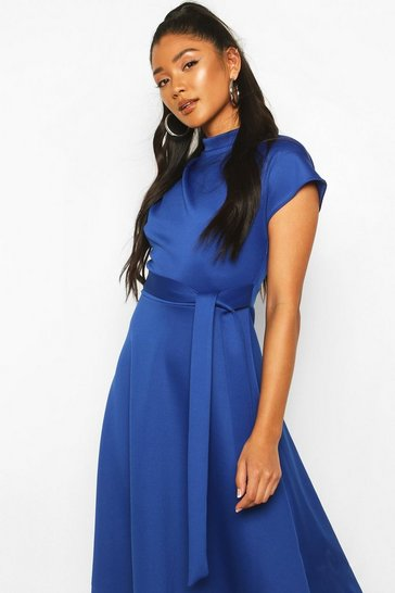 Cobalt blue Funnel Neck Belted Midi Skater Dress