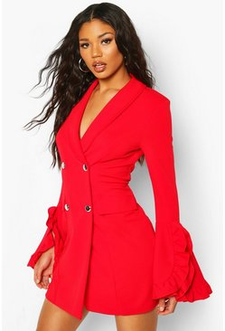 Red Frill Sleeve Blazer Dress