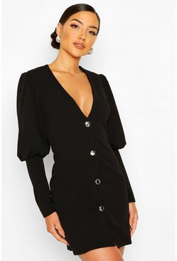 Black Puff Sleeve Plunge Button Front Blazer