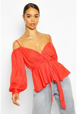 Tomato Cold Shoulder WrapTie Waist Top