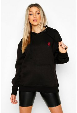 Black Rose Pocket Embroidered Oversized Hoodie