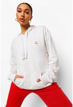 Ecru Rose Pocket Embroidered Oversized Hoodie