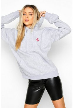 Grey marl Rose Pocket Embroidered Oversized Hoodie