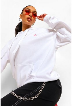 Rose Pocket Embroidered Oversized Hoodie , White blanc