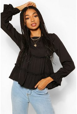 Black Woven Ruffle Long Sleeve Smock Top