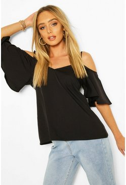 Black Pastel Cold Shoulder Camisole