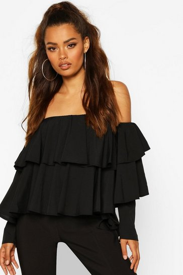 Black Multi Ruffle Off The Shoulder Top