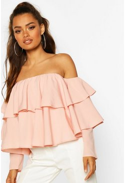 Blush pink Multi Ruffle Off The Shoulder Top
