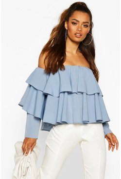 Powder blue blue Multi Ruffle Off The Shoulder Top