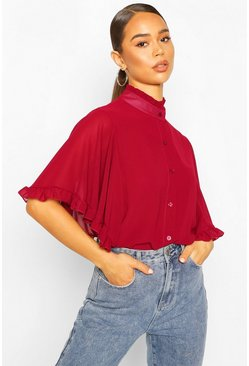 Berry red Woven Ruffle Sleeve Tunic Blouse