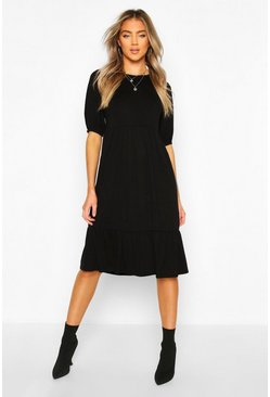 Black Elasticated Sleeve Drop Hem Midi Dress