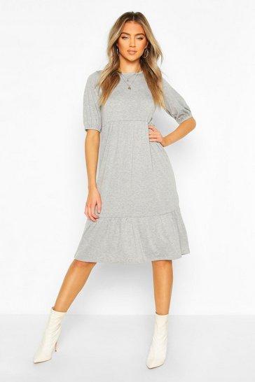 Grey Elasticated Sleeve Drop Hem Midi Dress