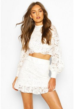 Ivory white Lace Peplum Mini Skirt