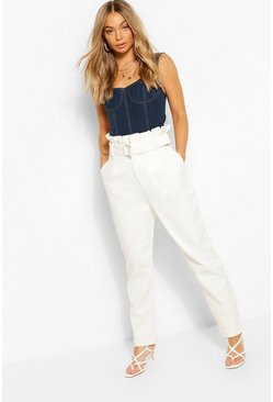 Ivory white Denim D-Ring Belted Pants