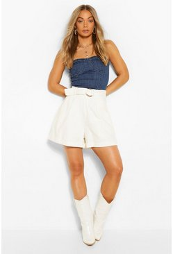 Ivory white Denim Belted D-Ring Shorts