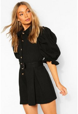 Black Denim Puff Sleeve Romper