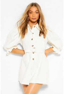Ivory white Denim Puff Sleeve Playsuit