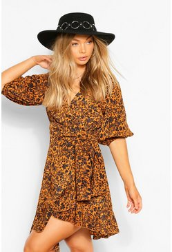 Rust orange Puff Sleeve Floral Wrap Mini Dress