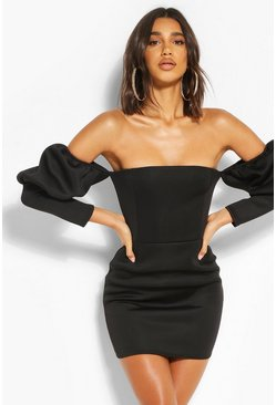 Black Puff Sleeve Off The Shoulder Mini Dress