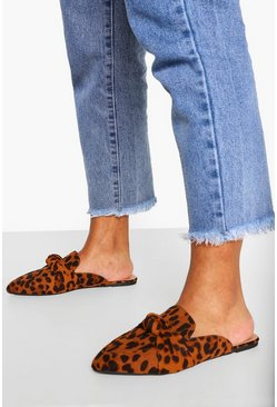 Leopard multi Wide Fit Knot Front Mules