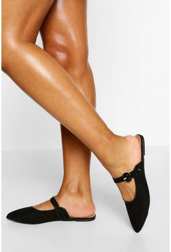 Black Wide Fit Mary Jane Mules